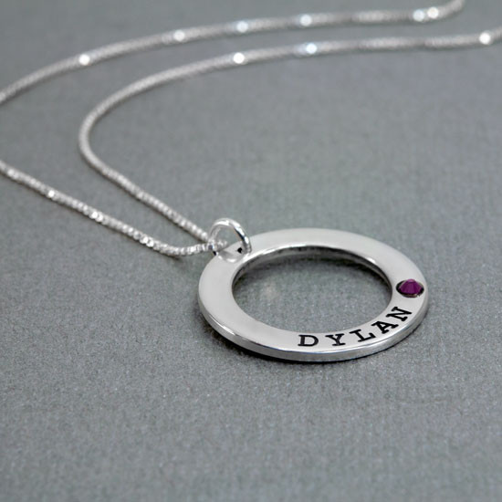 Embedded birthstone in Forever Love Necklace