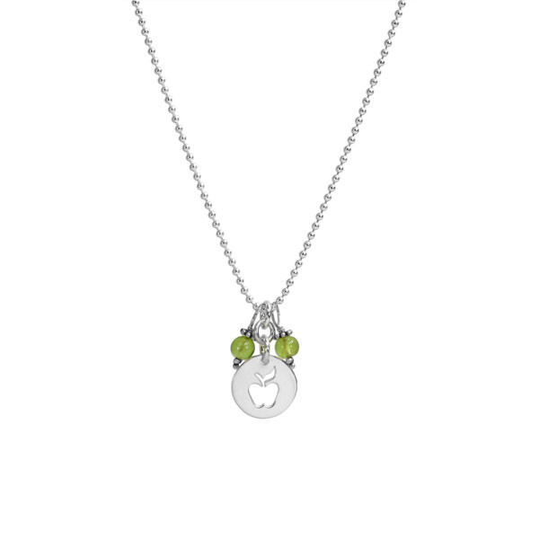 Apple & Peridot Necklace with silver apple teacher gift, on white