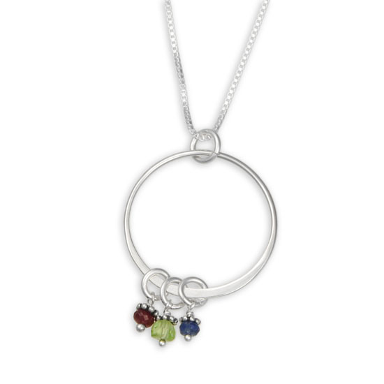 handmade sterling silver grandma necklace with birthstones, shown close up on white with only 3 bithstones
