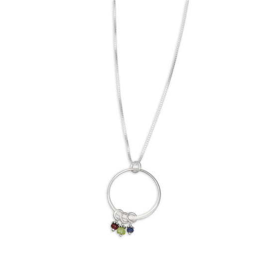 handmade sterling silver grandma necklace with birthstones, shown on white
