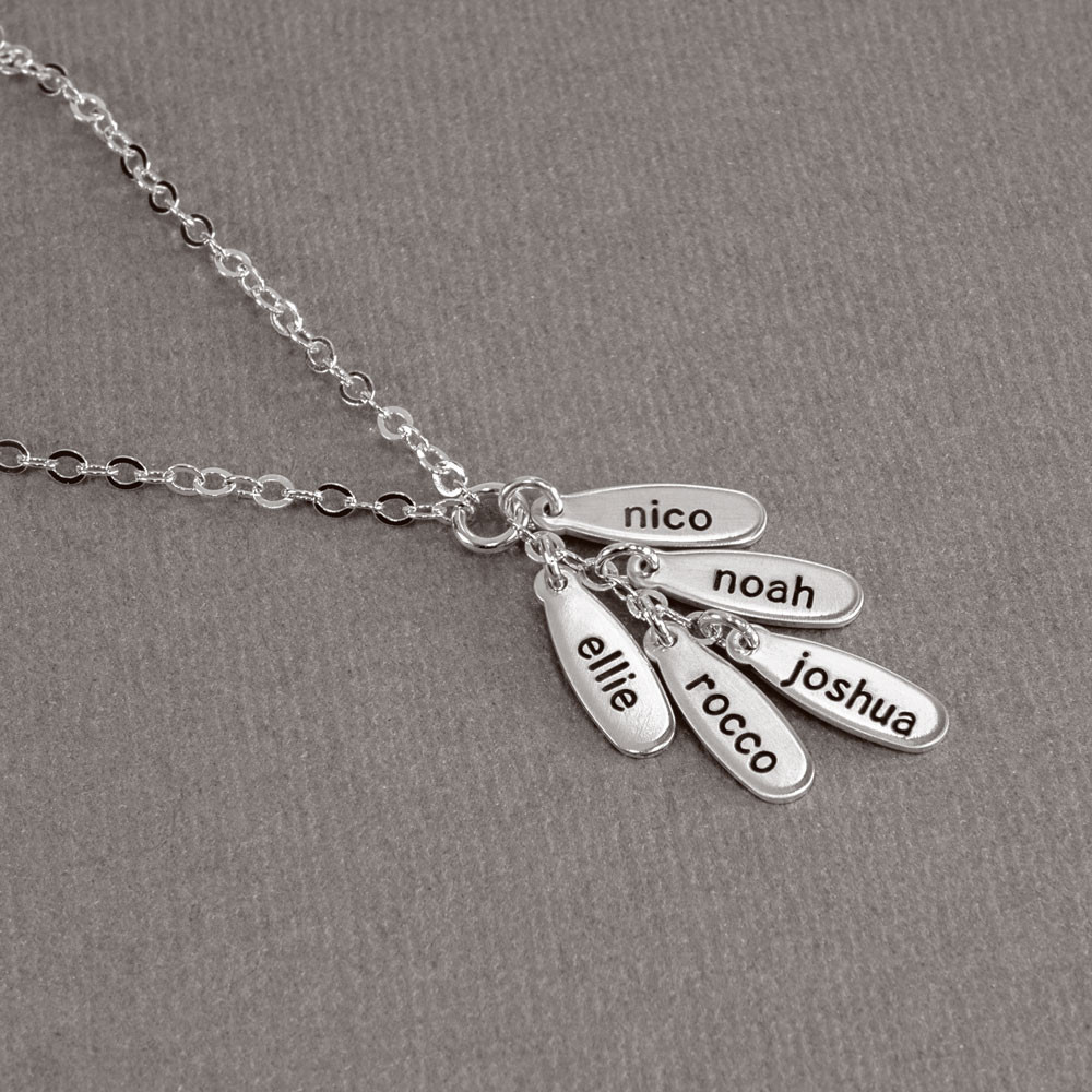 Custom Silver Cascade Necklace, hand stamped with the kids' names, shown from the top