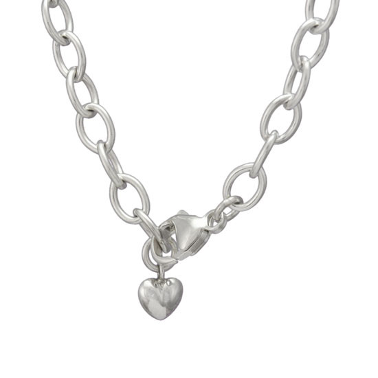 Sterling Silver Charm Bracelet Chain, with puffed silver heart, shown close up on white