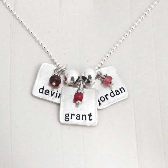 Silver Chunky Square Charm Necklace with Birthstone, shown on with multiple charms