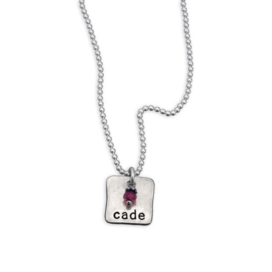 Silver Chunky Square Charm with Birthstone, shown on white