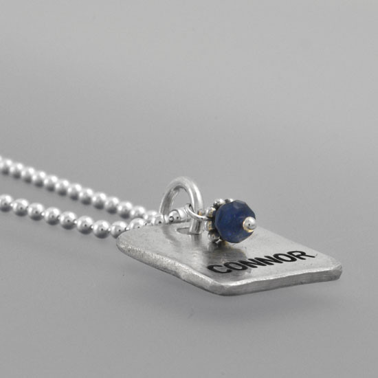 Silver Chunky Square Charm with Birthstone, shown on white, shown from the side