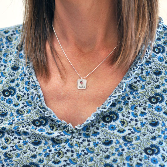 Silver Chunky Square Charm with Birthstone, shown on model