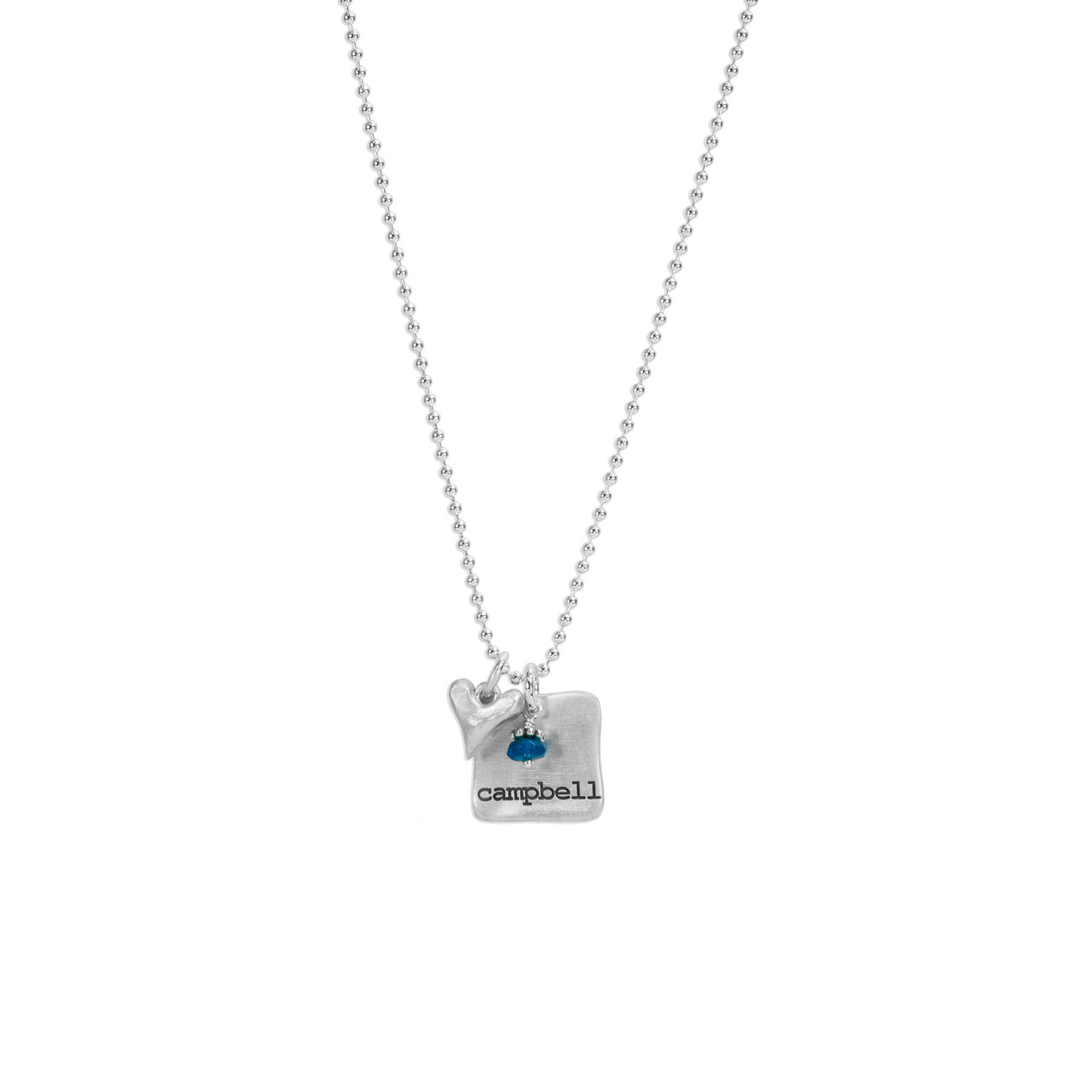 Silver Chunky Square Charm with Birthstone, shown on white, with silver heart
