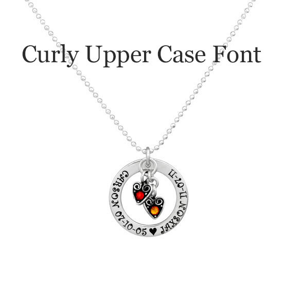 Hand stamped Mom Necklace in sterling silver with birthstones