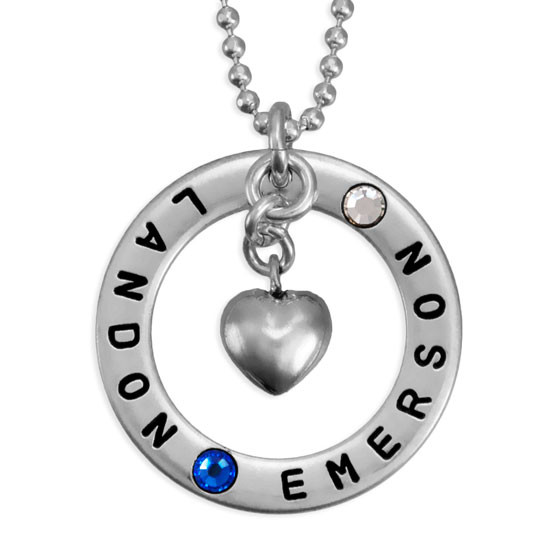 Forever Love Silver Necklace with Birthstones, hand stamped with kids names