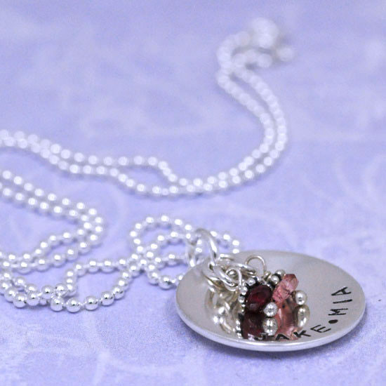 Handmade Sterling Silver Classic Birthstone Necklace, shown from the side with names Jake & Mia