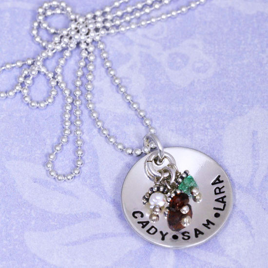 Handmade Sterling Silver Classic Birthstone Necklace, shown with names Cady, Sam, + Lara