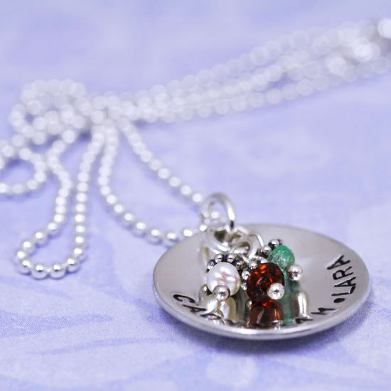 Handmade Sterling Silver Classic Birthstone Necklace, shown with names Jake & Mia