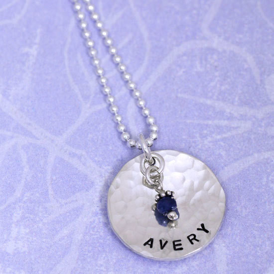 Handmade Sterling Silver Classic Birthstone Necklace handstamped with the name Avery