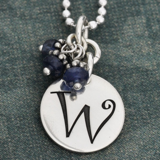 Curly Initial with Stone Cluster