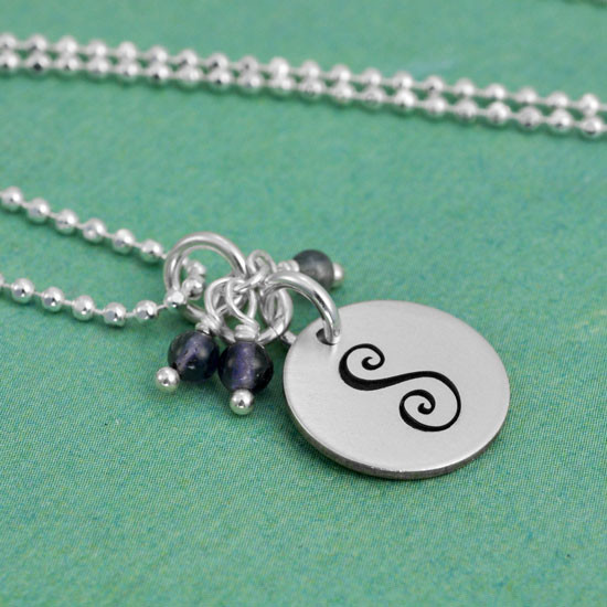Curly Initial with Stone Cluster on Fine Ball Chain