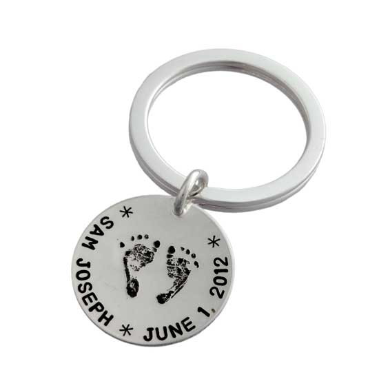 Custom Handprint or Footprint Key Ring Keychain