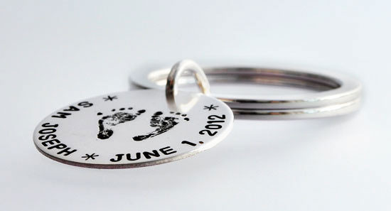 Custom Handprint or Footprint Sterling Silver Key Ring Keychain, with hand stamped birth date, side view