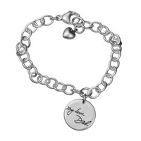 Custom Silver Handwriting Bracelet with handwriting of loved one or your own handwriting