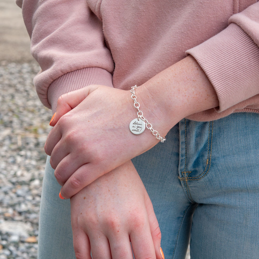 Custom Silver Handwriting Bracelet with handwriting of loved one or your own handwriting, shown on a model