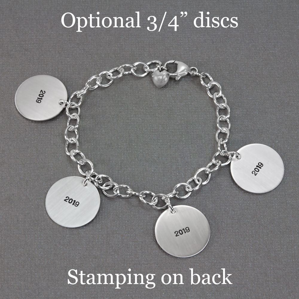 Custom Silver Handwriting Bracelet with kids' artwork, shown with stamping on the back