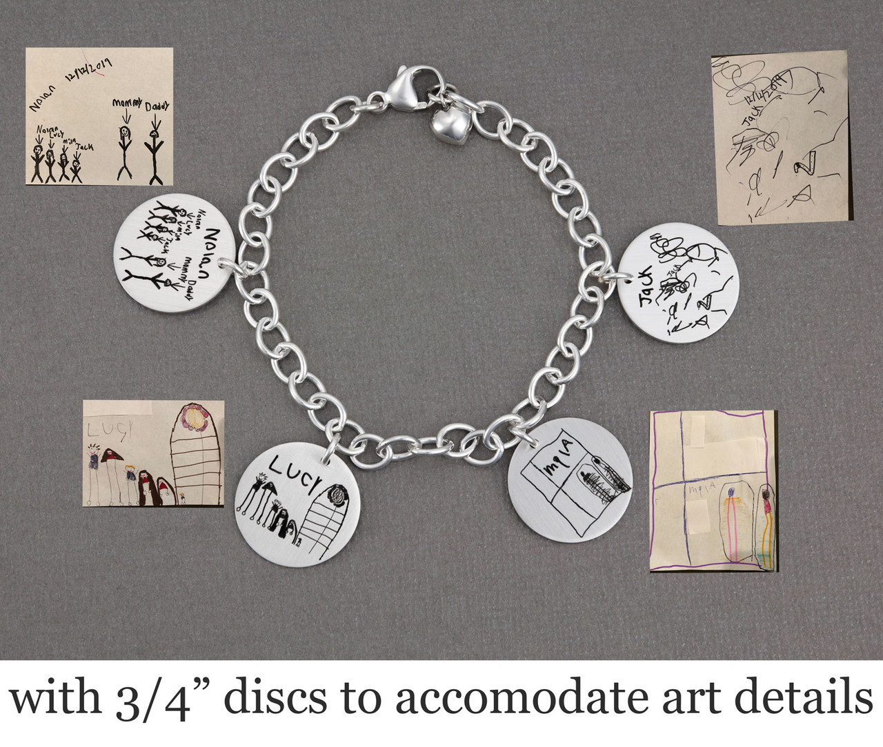 Custom Silver Handwriting Bracelet with kids' artwork, shown with the original artwork, with larger 3/4 inch discs