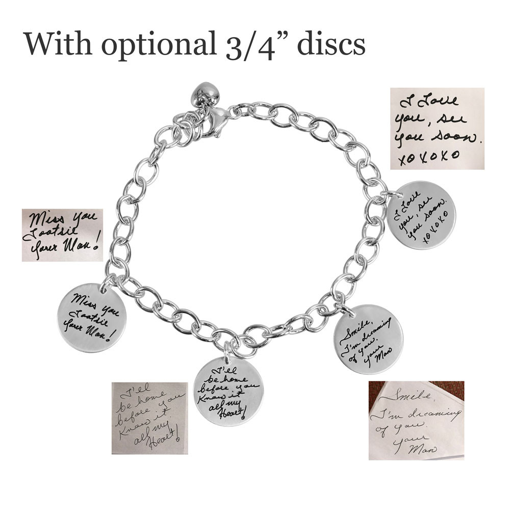 Custom Silver Handwriting Bracelet with handwriting of loved one or your own handwriting, shown with original handwritten note used to create it, on white