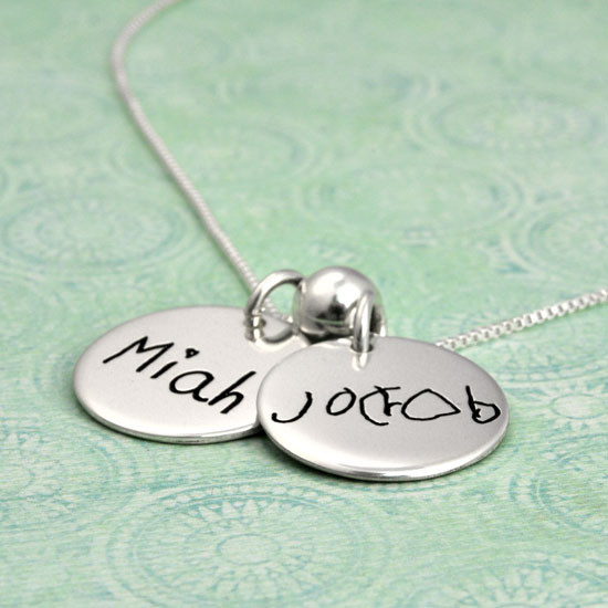 Custom Silver Child's handwriting jewelry, shown from the side
