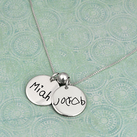 Custom Silver Child's handwriting charms