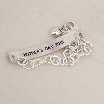 ID Bracelet made from loved one's handwriting in sterling silver, with handstamping on back