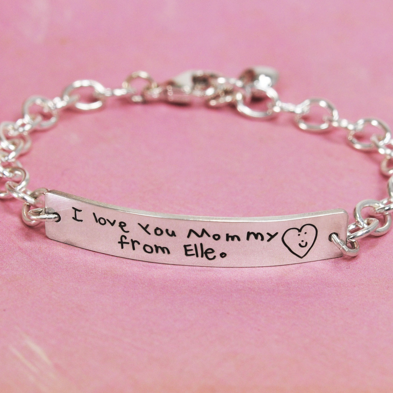ID Bracelet with handwriting in sterling silver, shown from front