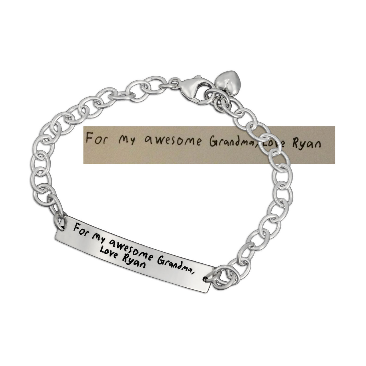 Mother's Day Silver Handwriting ID Bracelet, with the original handwriting