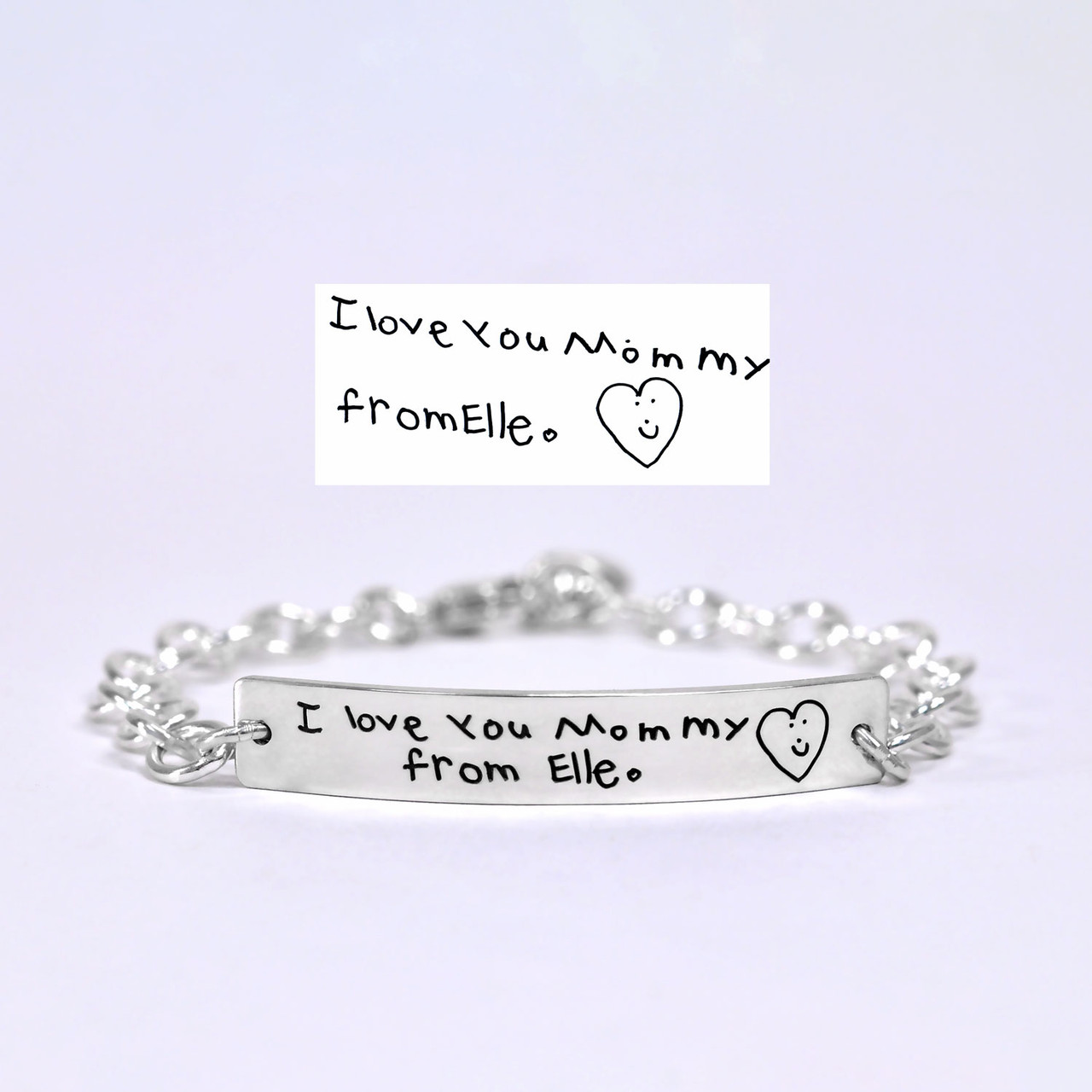 ID Bracelet with handwriting in sterling silver, shown from front, with original handwriting