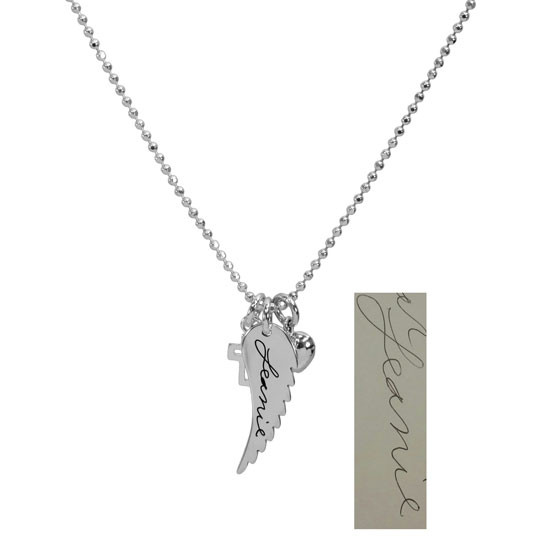 Custom Handwriting Memorial Charm Silver Angel Wing Necklace, shown with handwritten note