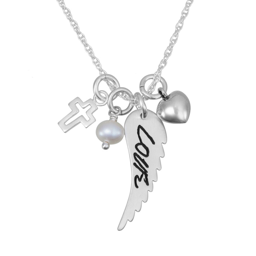 Custom Handwriting Memorial Charm Angel Wing Silver Necklace