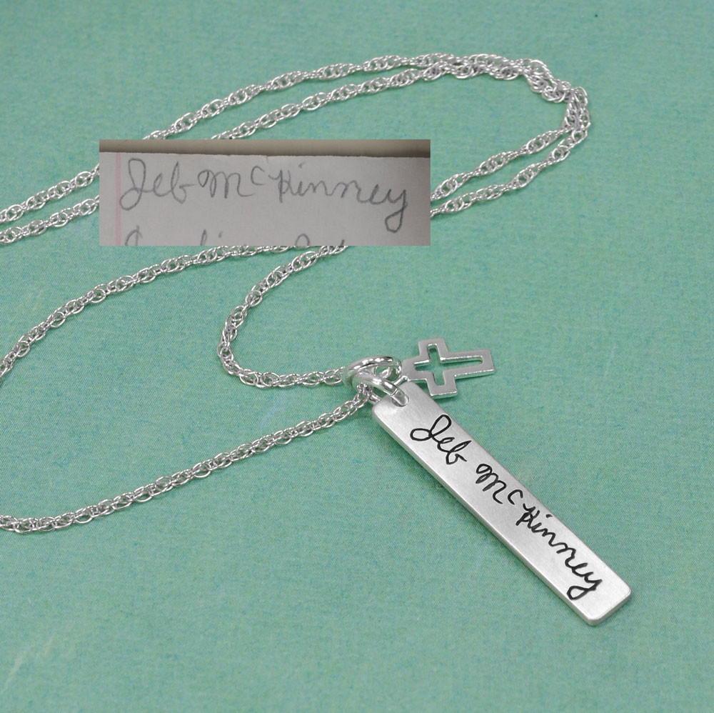 Custom Handwriting Tag in sterling silver, with actual handwriting,  shown from side view.
