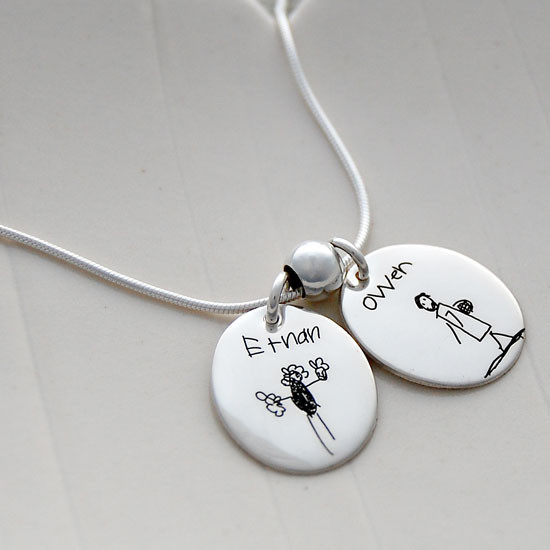Custom Oval Charm for Handwriting Jewelry or Artwork Jewelry, shown from the side