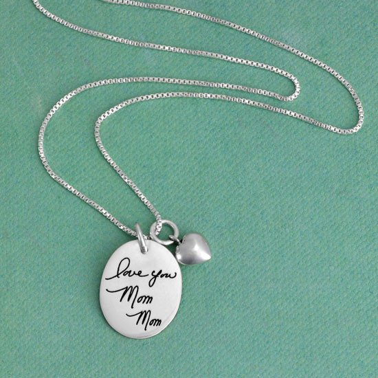 Oval memorial handwriting necklace