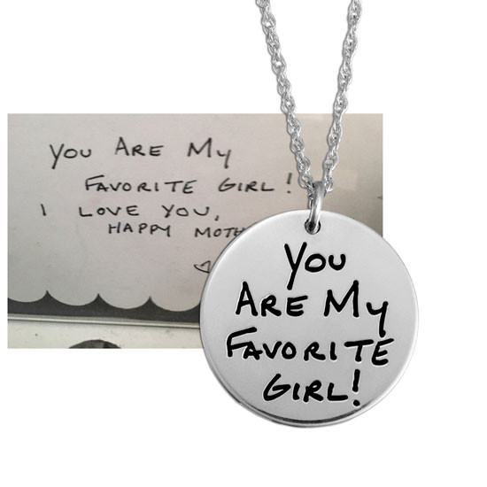 "Custom Silver Round Handwriting Artwork Necklace with note to wife on a silver 3/4"" circle charm"