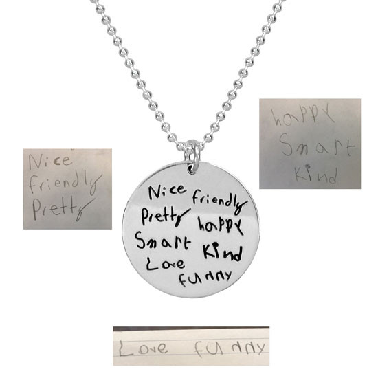 "Custom Silver Round Handwriting Artwork Necklace with handwriting from all mom's kids on a silver 3/4"" circle charm"