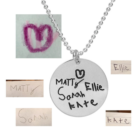 "Custom Silver Round Handwriting Artwork Necklace with child's handwritten names on a silver 3/4"" circle charm"