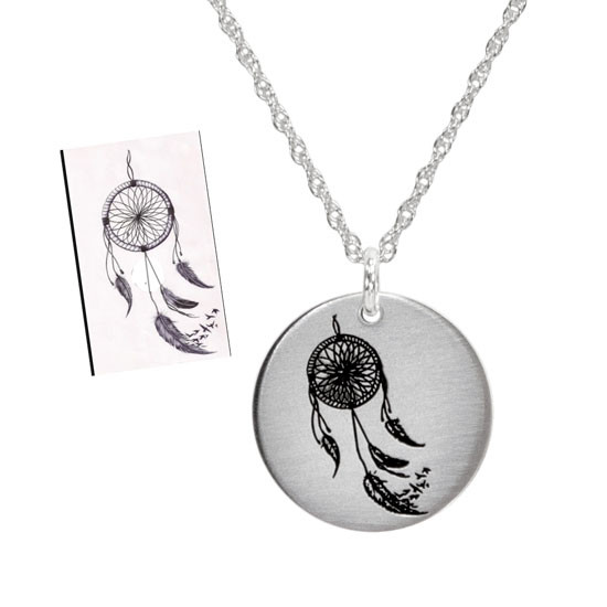 Drawn artwork on sterling silver necklace