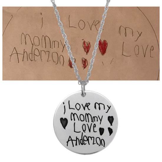 Child's handwritten note on sterling silver pendant