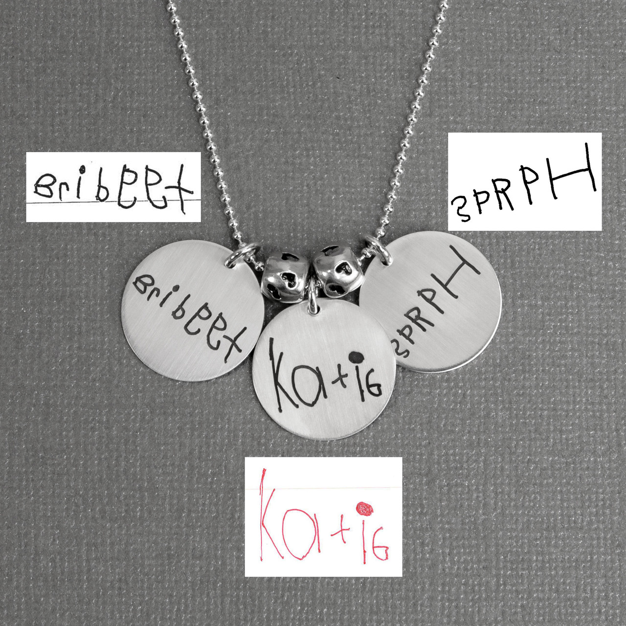 "Custom Silver Round Handwriting Artwork Necklace with child's handwritten names on a silver 3/4"" circle charms"