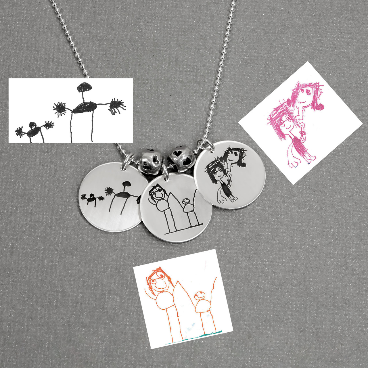 "Custom Silver Round Handwriting Artwork Necklace with child's drawings on a silver 3/4"" circle charms"