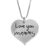 Custom Silver Heart Handwriting Necklace with your actual handwriting, shown close up on white