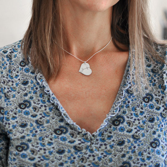 Custom Silver Heart Handwriting Necklace with your actual handwriting, shown on model