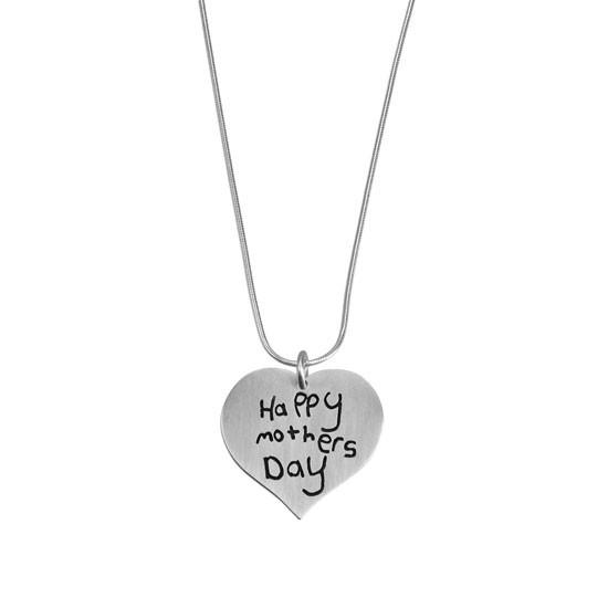 Custom handwriting on heart necklace
