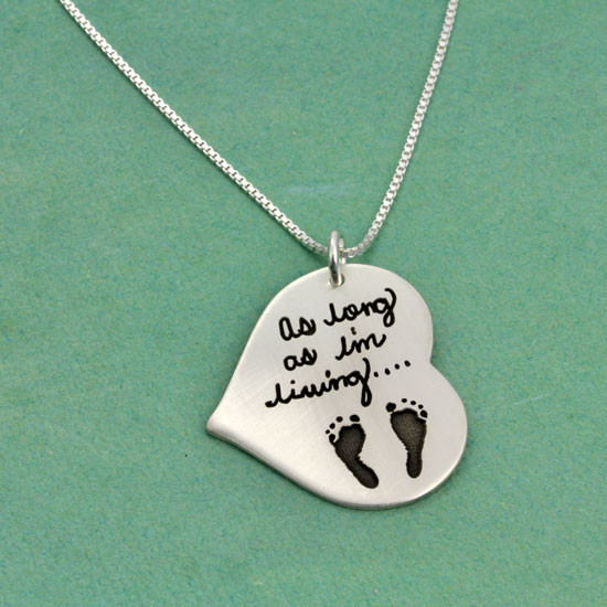 Signature jewelry with handwriting and footprints