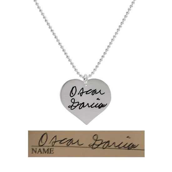 Name on heart necklace handwritten memorial