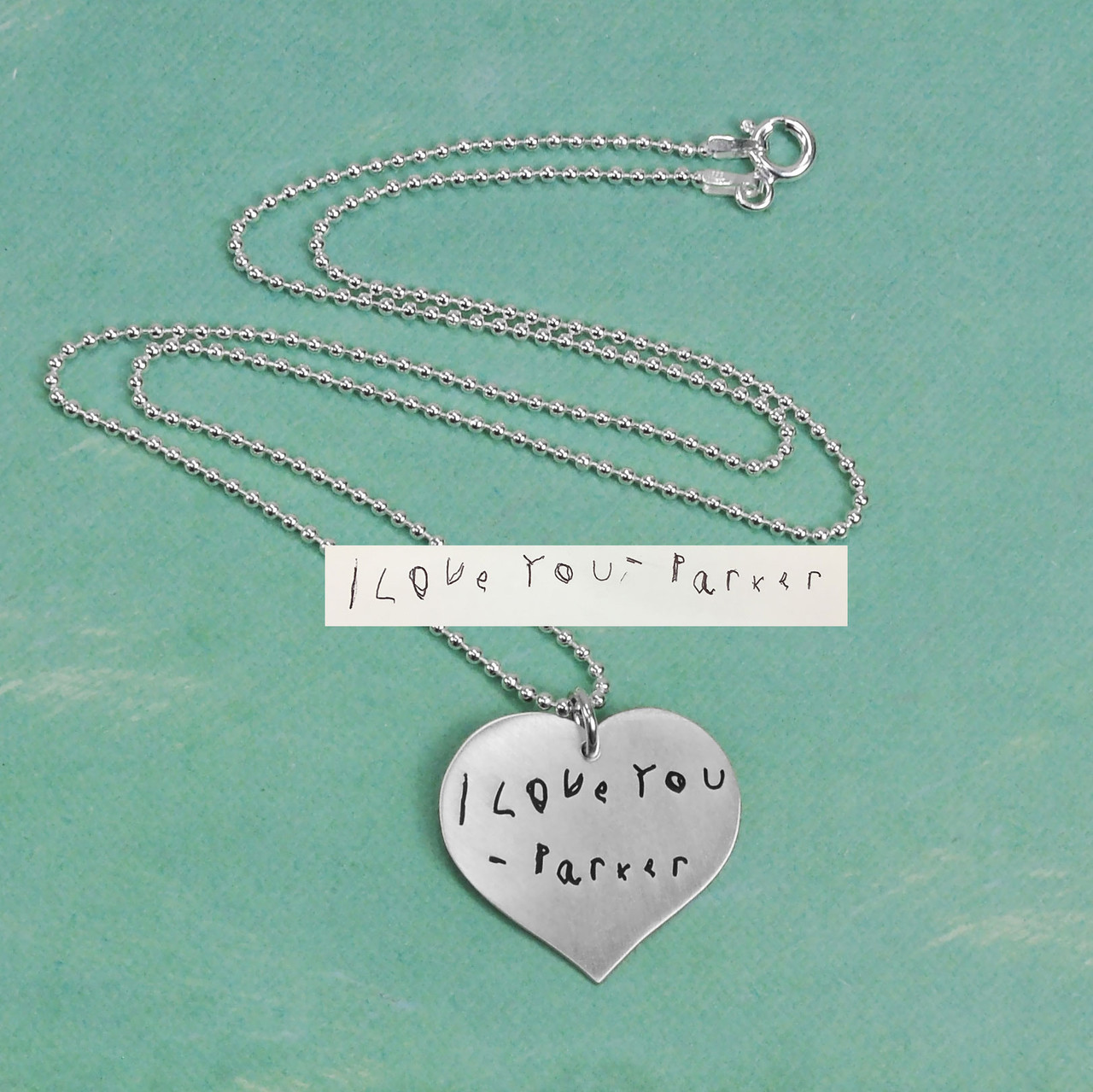Custom Silver Heart Handwriting Necklace with your actual handwriting, shown with original handwriting